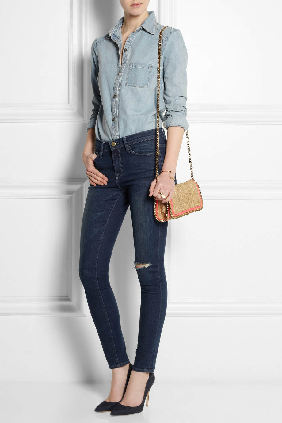 2881578818f0 Stella McCartney Falabella Woven Raffia Shoulder Bag in Natural - Lyst