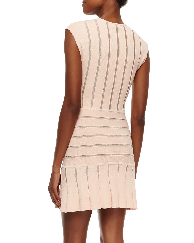 Ronny Kobo Sleeveless Metallic Stripe Dress In Pink Light