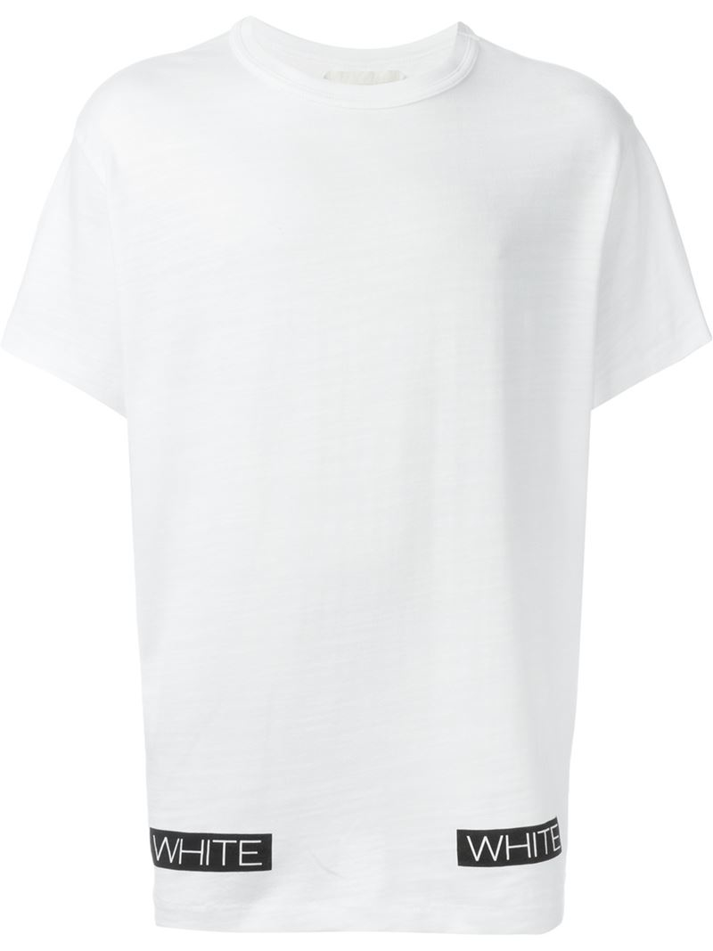 Lyst off white c o virgil abloh striped logo print t for White t shirt printing