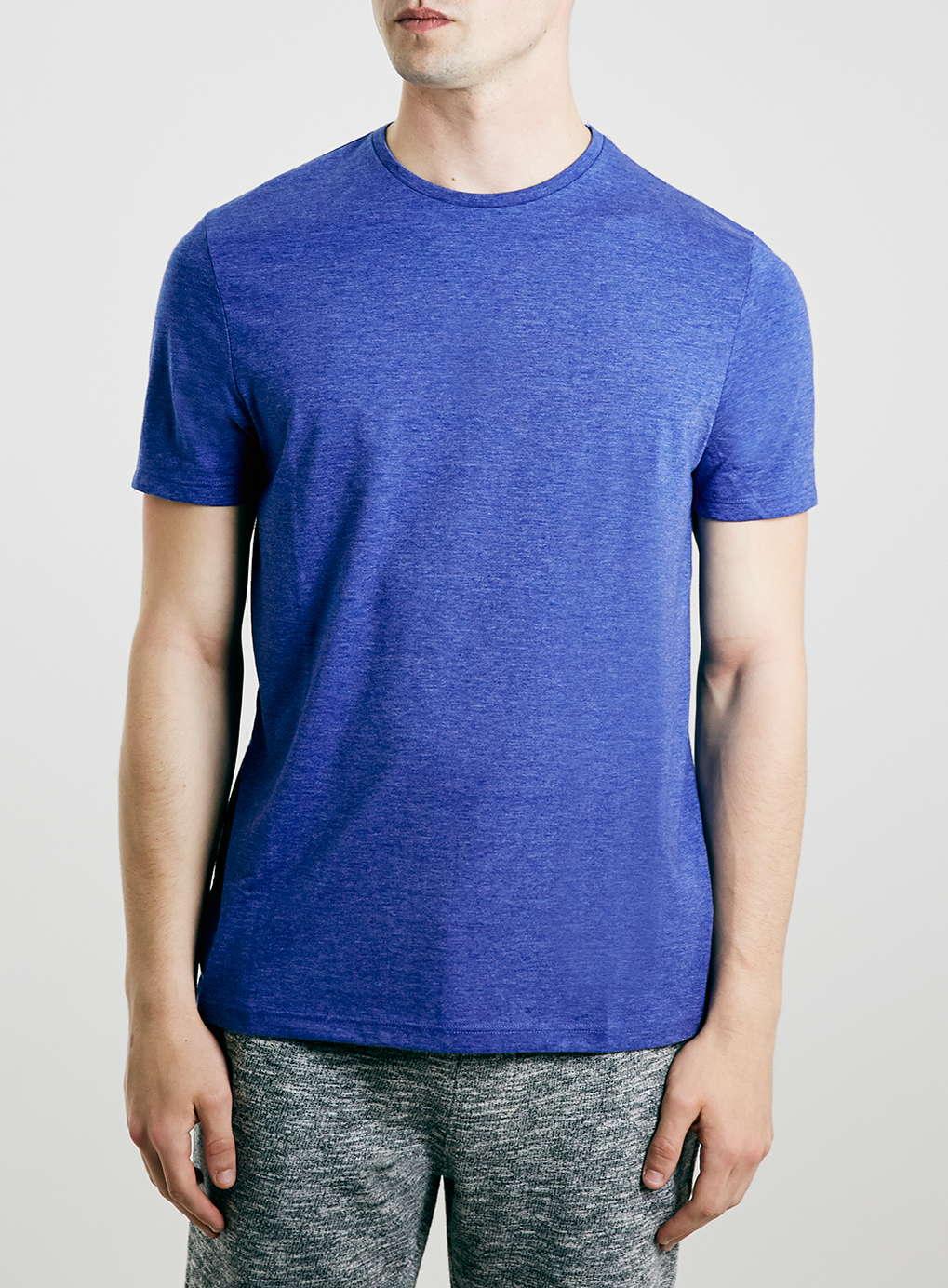 Topman ocean blue slim fit crew t shirt in blue for men lyst for Ocean blue t shirt