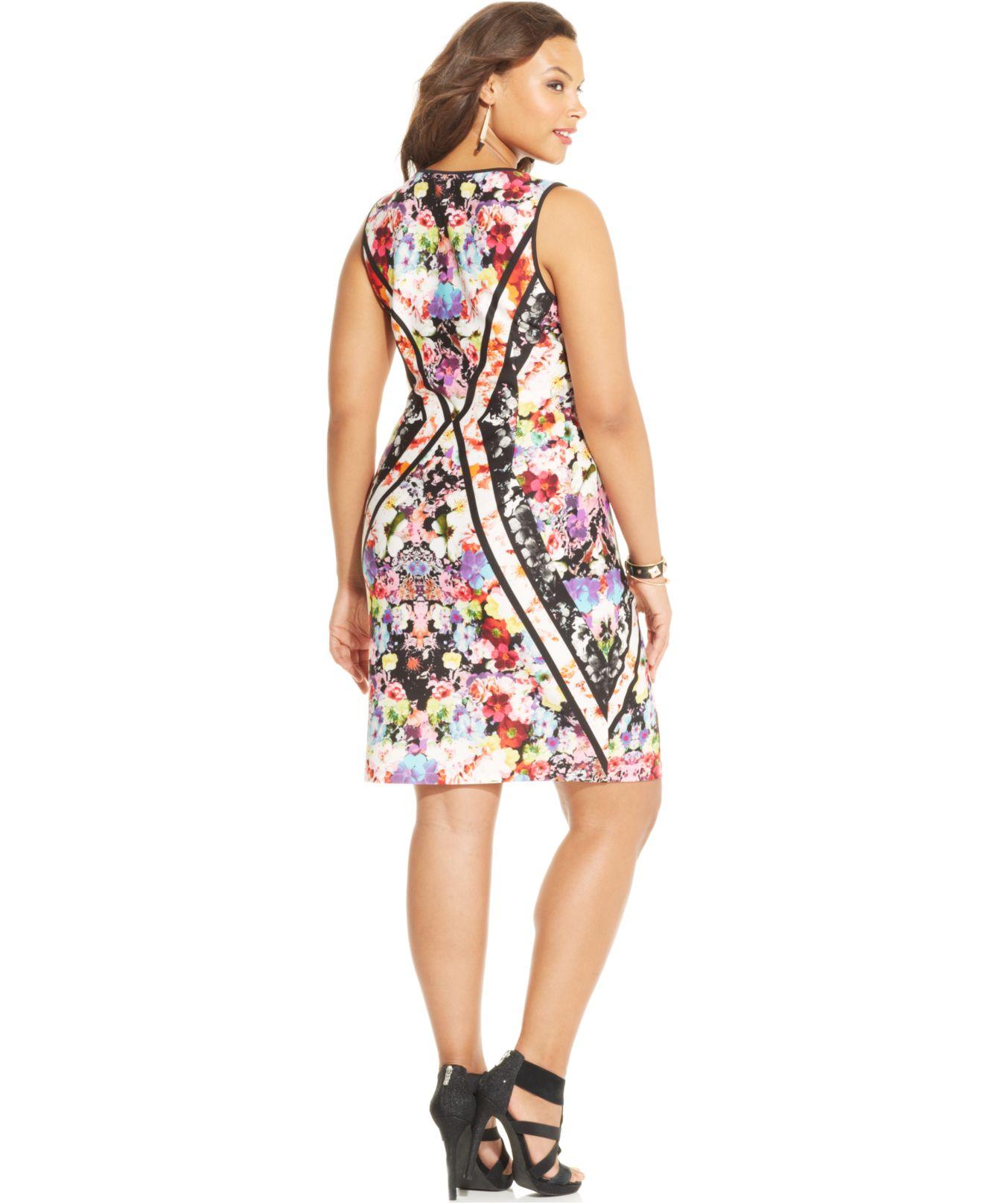 10237580ea4 Lyst - Spense Plus Size Floral-Print Sheath Dress