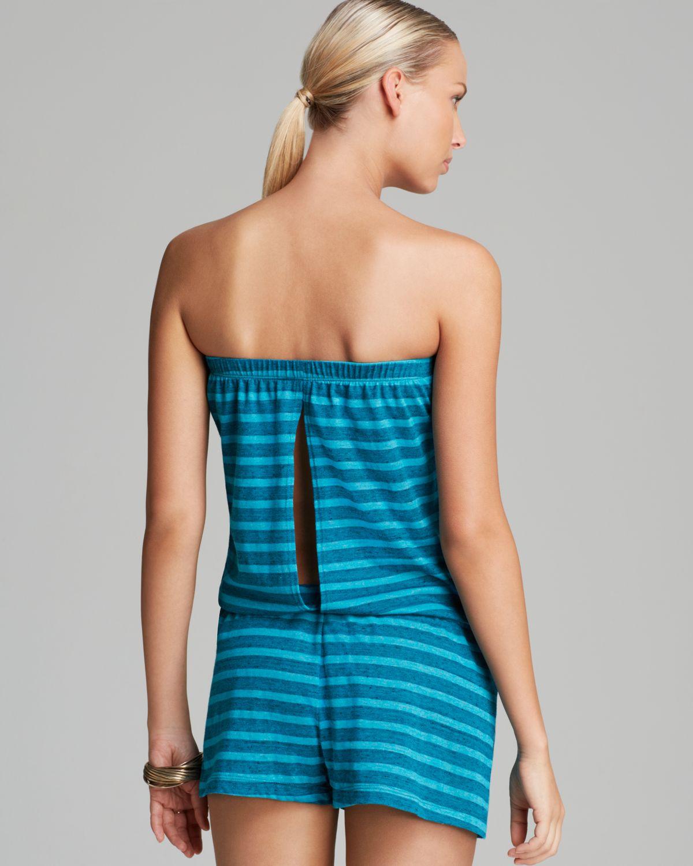 baf0ff3826854 Lyst - Lucky Brand Coastline Striped Swim Cover Up Romper in Blue
