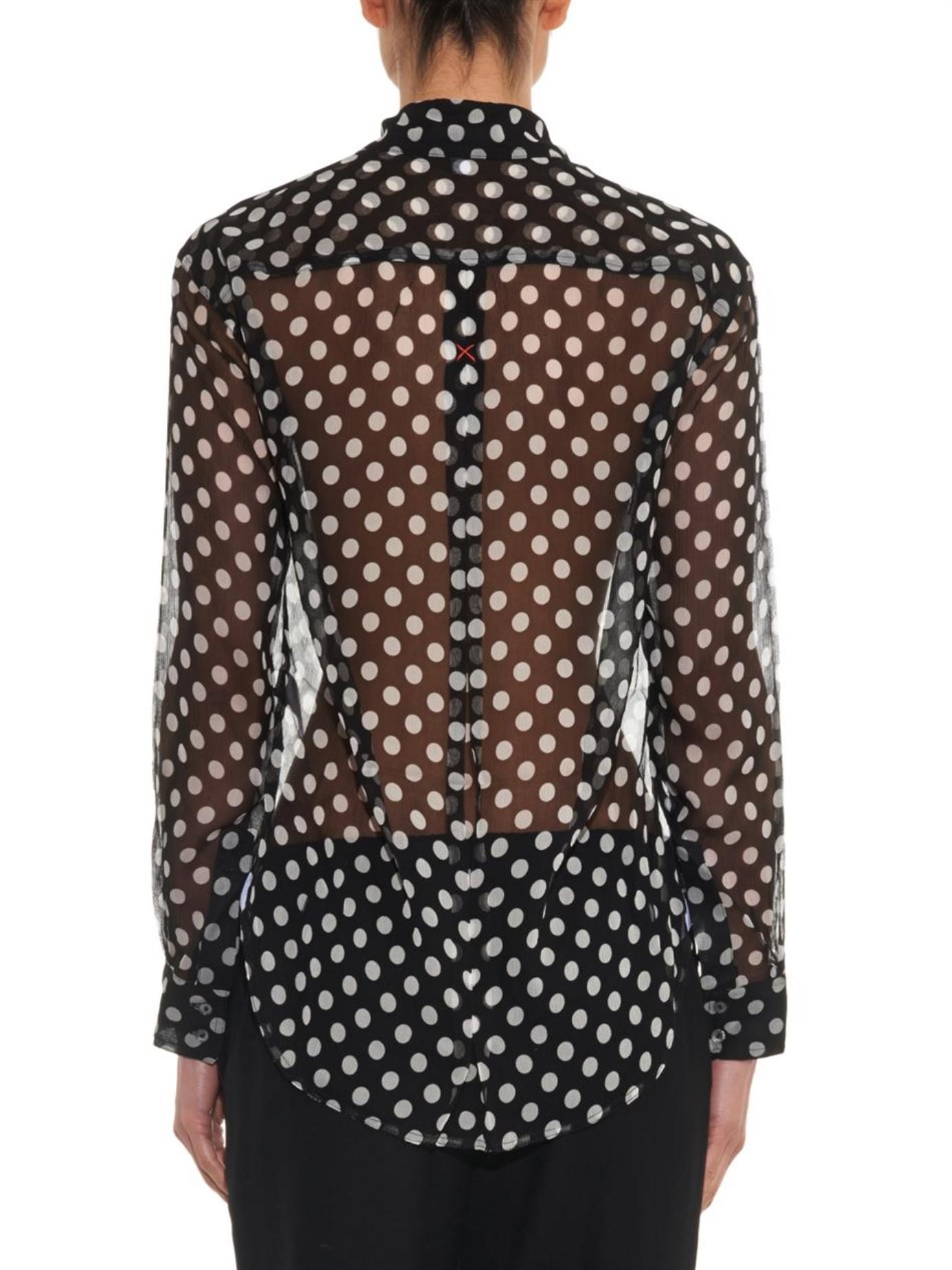 c251cce051c3f Lyst - Elizabeth and James  emmanuel  Polka Dot Silk Chiffon Shirt ...