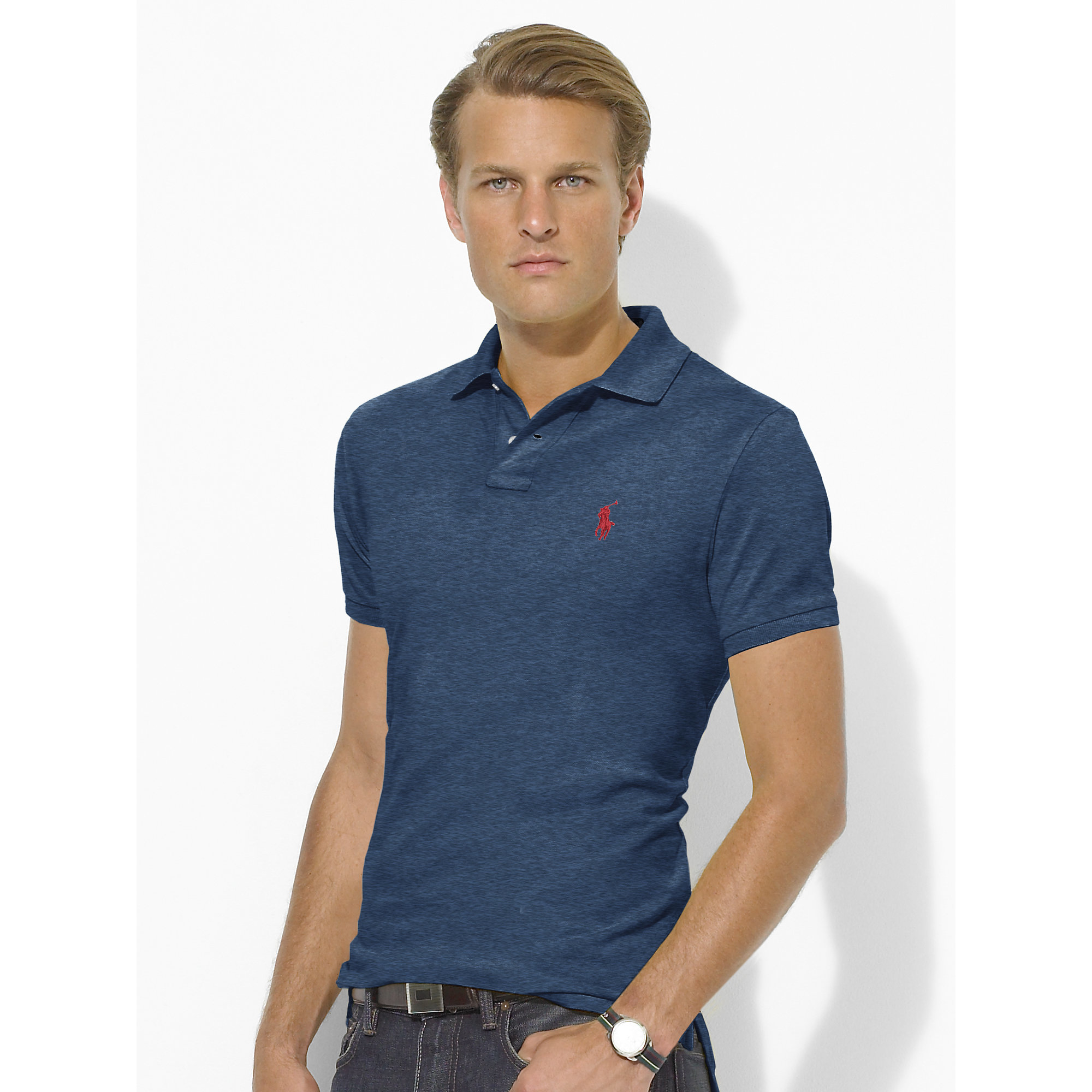 Polo men ralph lauren stickup custom fit mesh black for Polo shirt and jeans