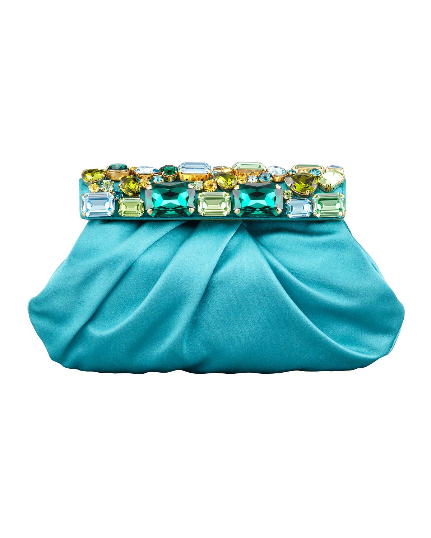 Prada Raso Jeweled Satin Clutch Bag in Blue (pavone) | Lyst