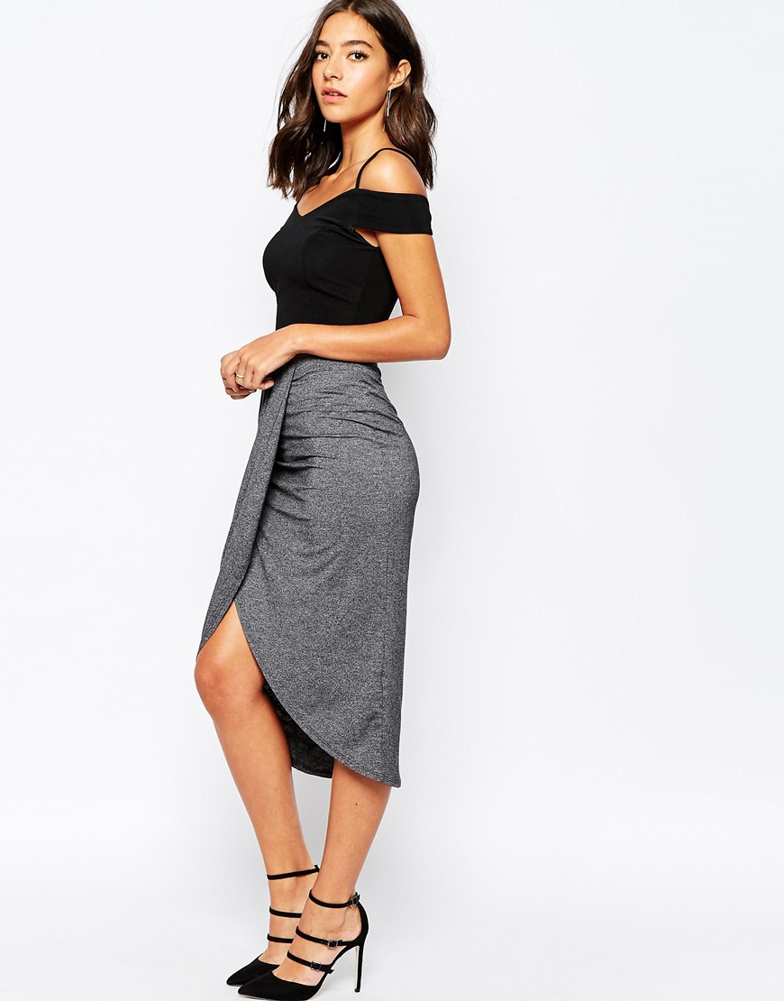 Warehouse Wrap Midi Skirt in Gray | Lyst