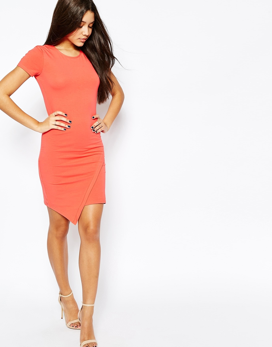 e5bc203cc4704 ASOS Bodycon Dress With Short Sleeves And Asymmetric Hem - Coral in ...