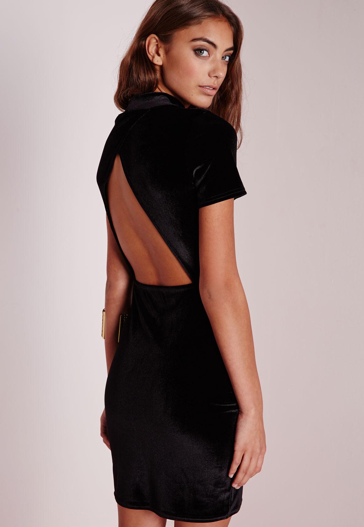 Missguided velvet racer high neck midi dress black in black lyst - Gallery Women S Black Lace Cocktail Dresses Women S Velvet Dresses