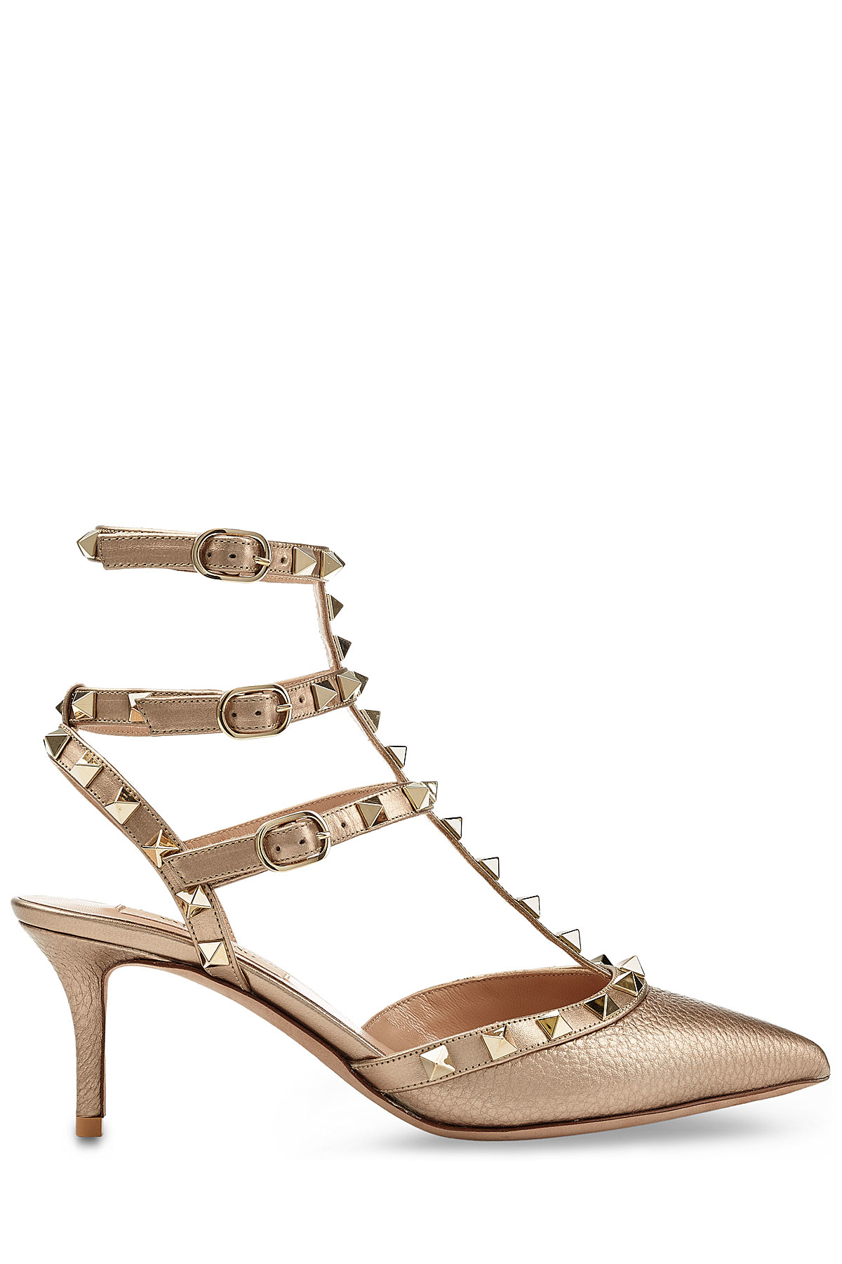 83e61fadb2 Valentino Rockstud Leather Kitten Heels - Brown in Metallic - Lyst