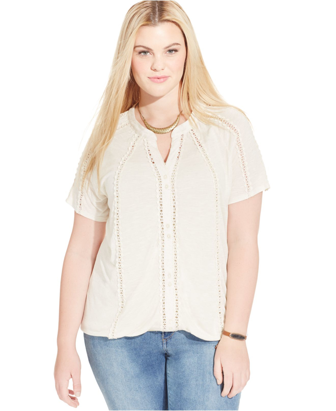 American Rag Plus Size Lace Trim Button Up Tee In Beige
