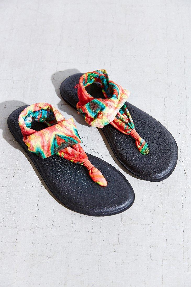 98d79daa794cb Lyst - Sanuk Tie-dye Yoga Sling Sandal in Black