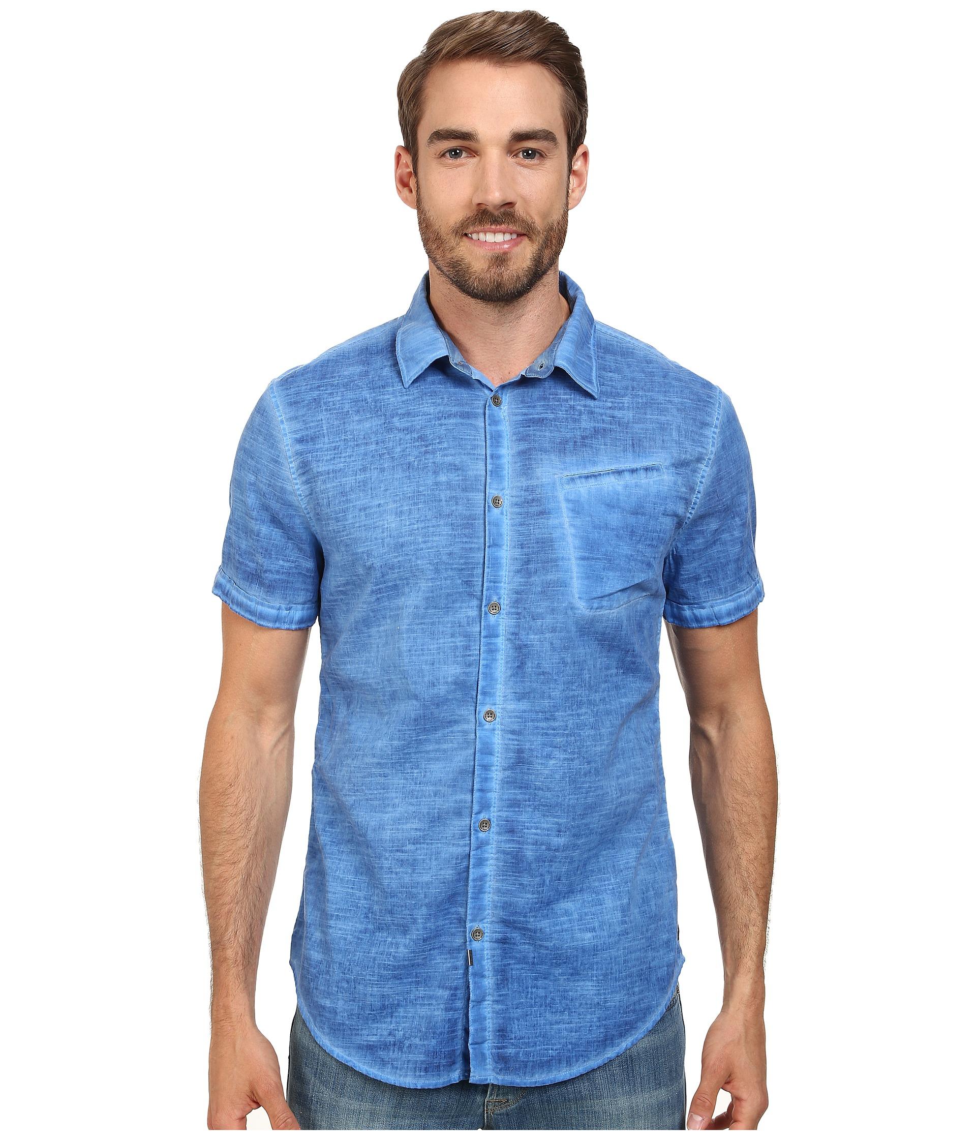 calvin klein jeans cold pigment dyed shirt in blue for men. Black Bedroom Furniture Sets. Home Design Ideas
