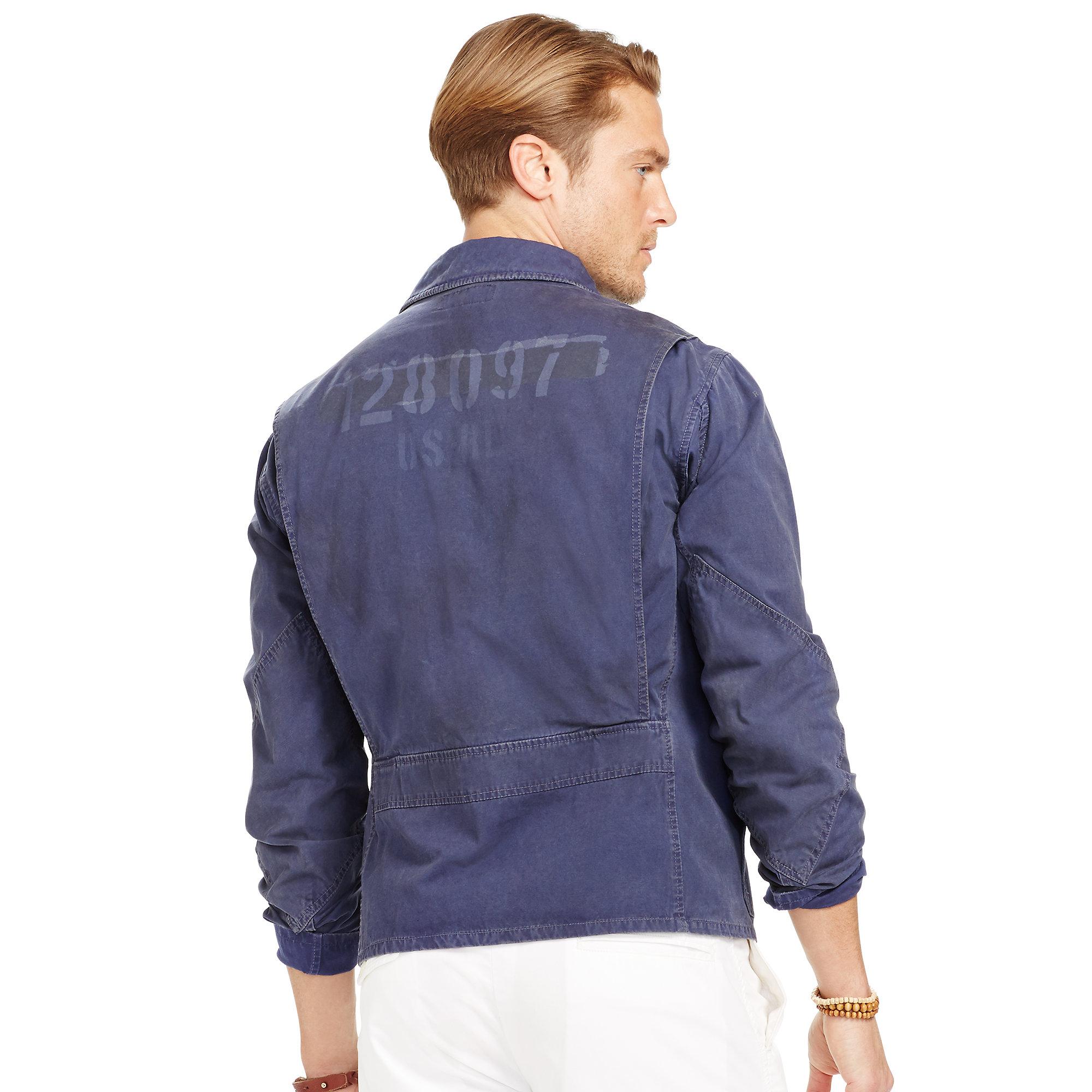 Polo ralph lauren Cotton Canvas Flight Jacket in Blue for Men | Lyst