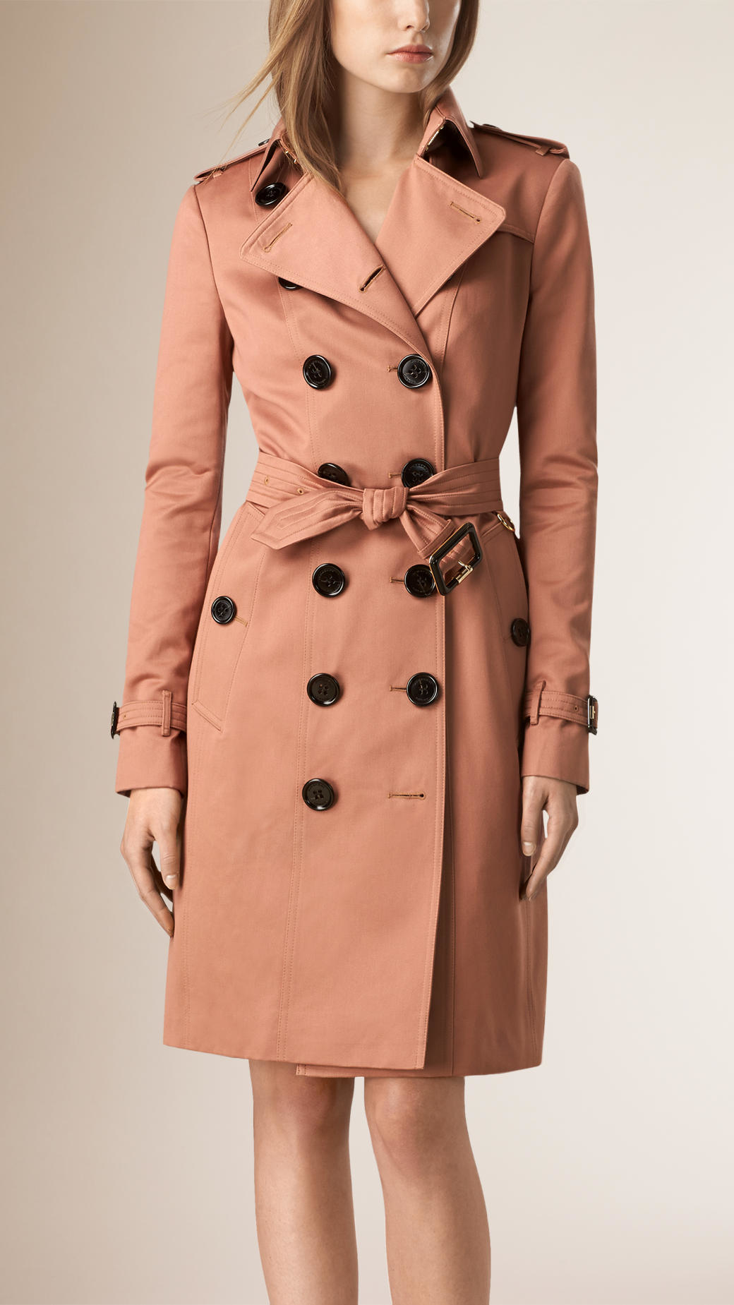 burberry cotton sateen trench coat in pink antique garnet. Black Bedroom Furniture Sets. Home Design Ideas