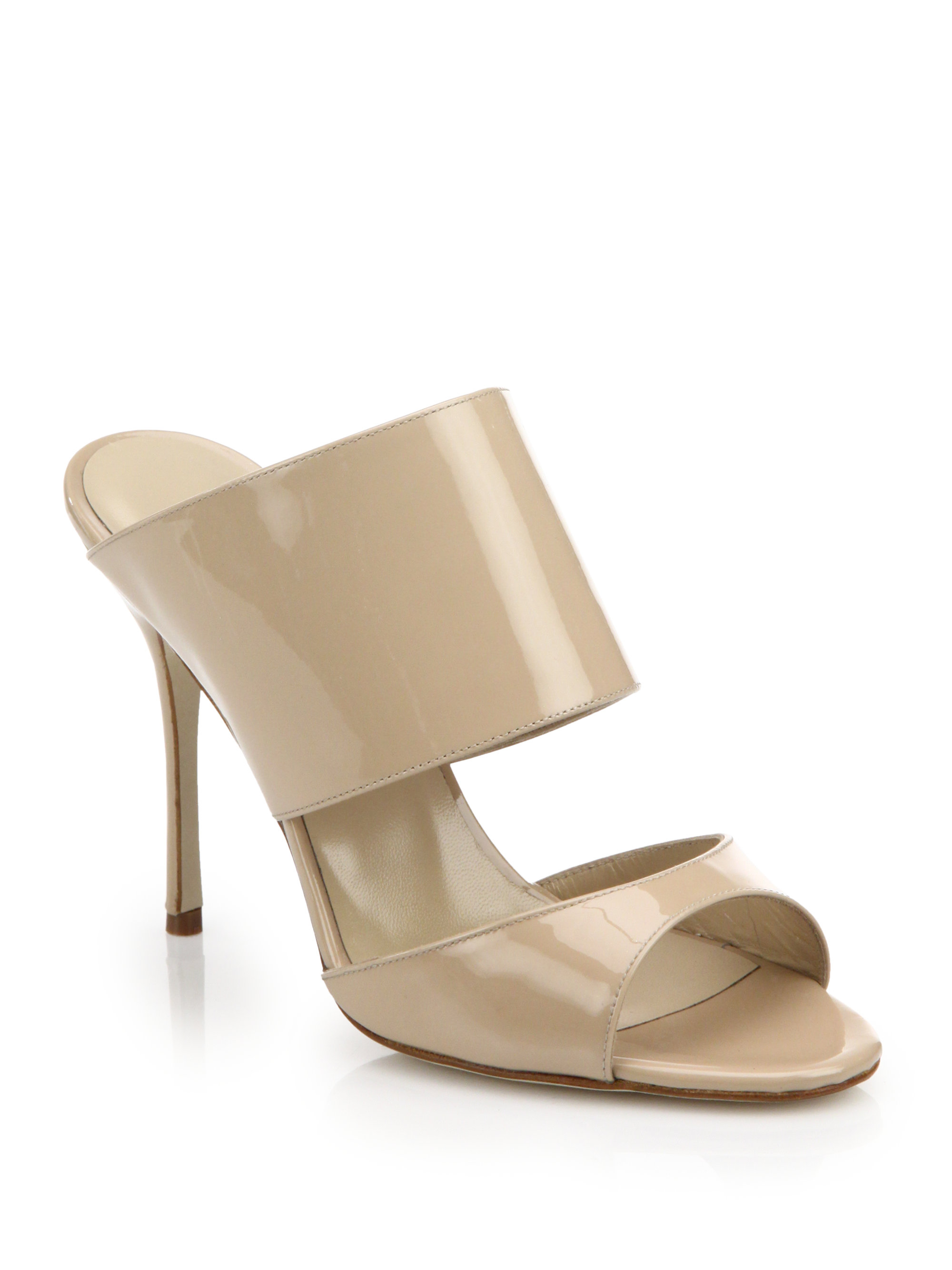 Manolo Blahnik Patent Leather Peep-Toe Mules cost for sale cheap discount sale cheap sale prices cheap sale 100% authentic 4NoX1NtjW