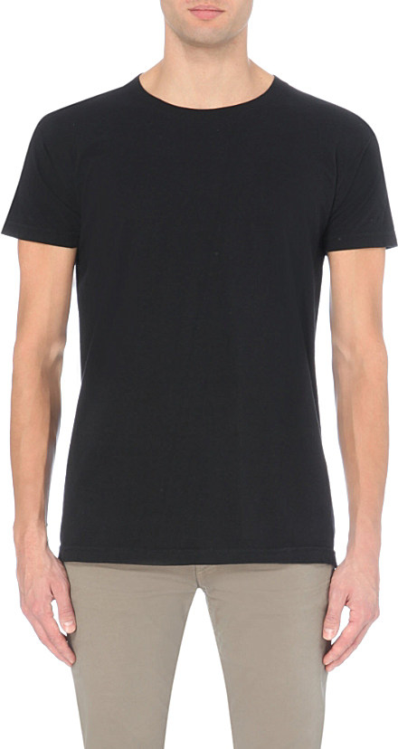 American Apparel Power Wash Cotton T Shirt In Black For