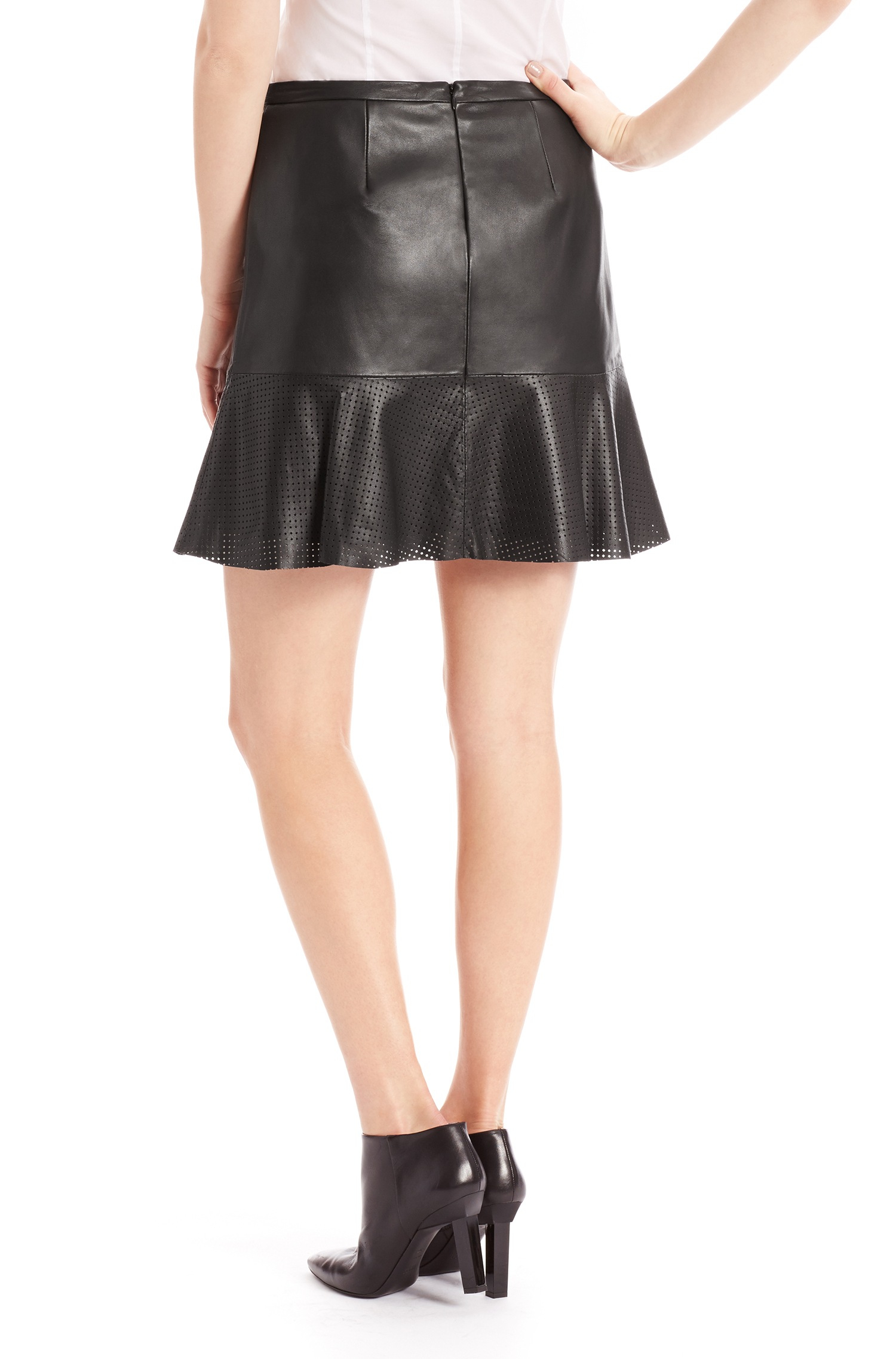 hugo loysa leather a line skirt with perforated detail