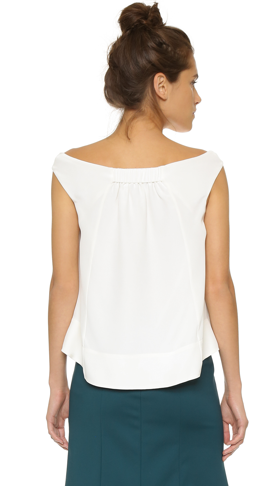Lyst Tibi Off Shoulder Silk Top Ivory In White