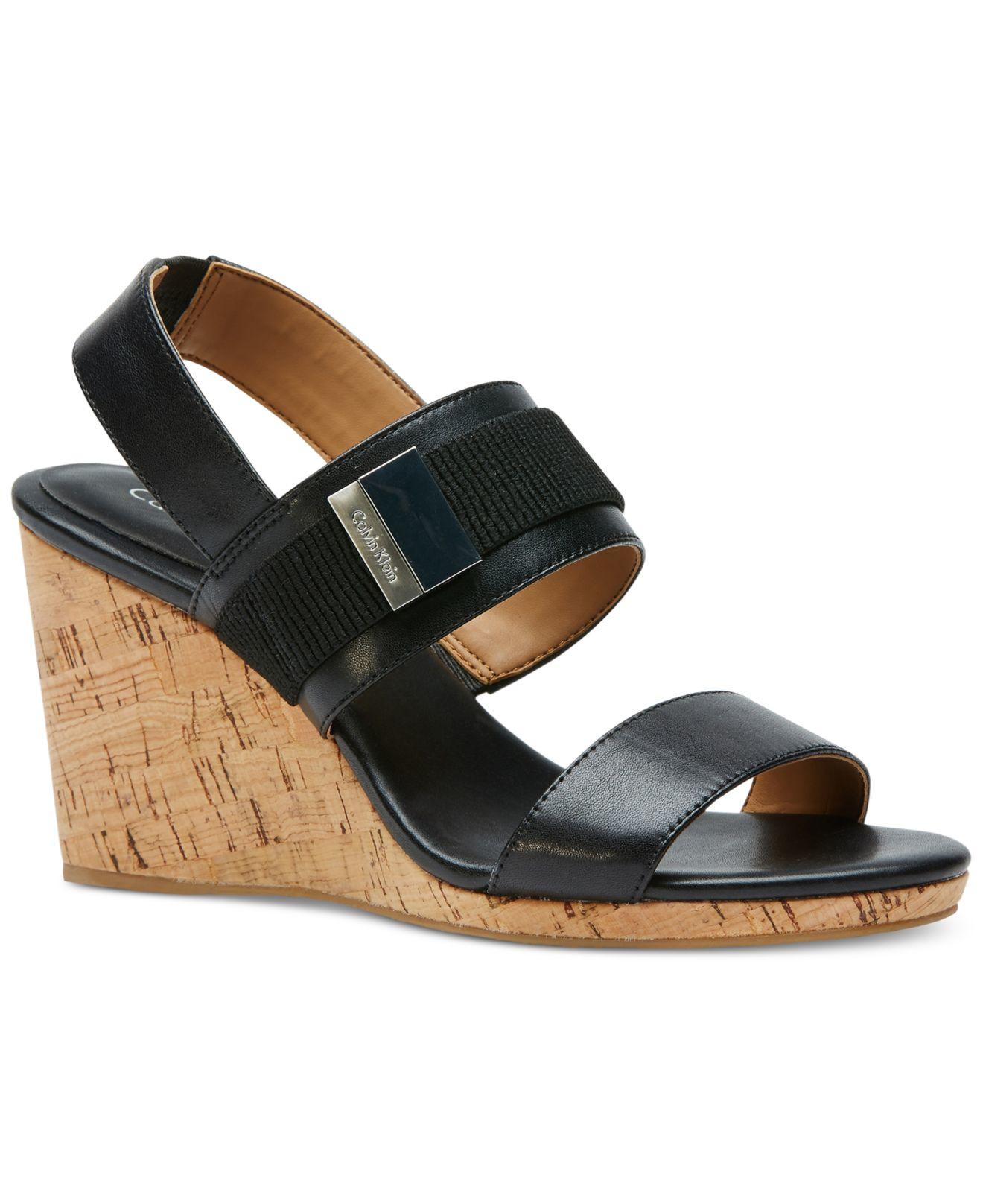 calvin klein brandie wedge sandals in black lyst