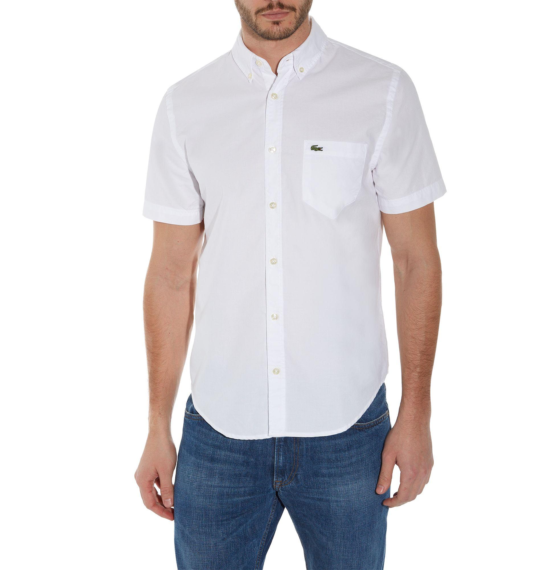 Lacoste Plain Short Sleeve Button Down Shirt in White for Men | Lyst