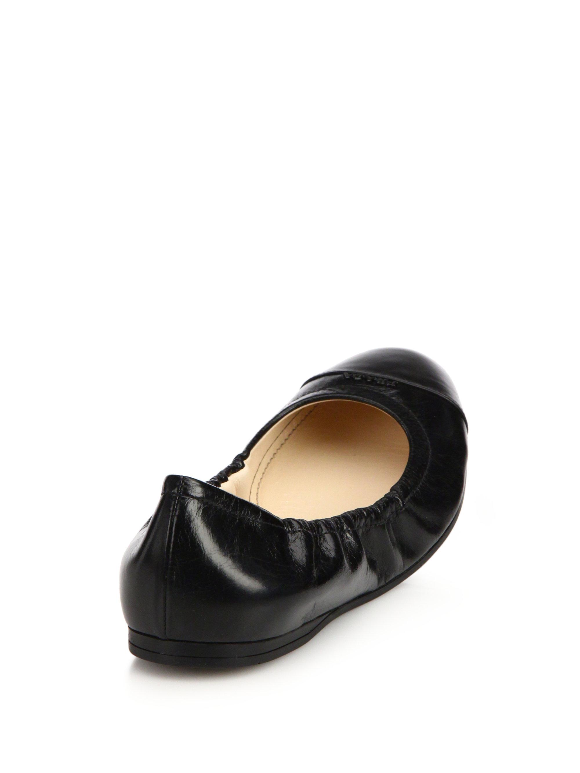 4b82daa73e Prada Leather Cap-Toe Ballet Flats in Black - Lyst