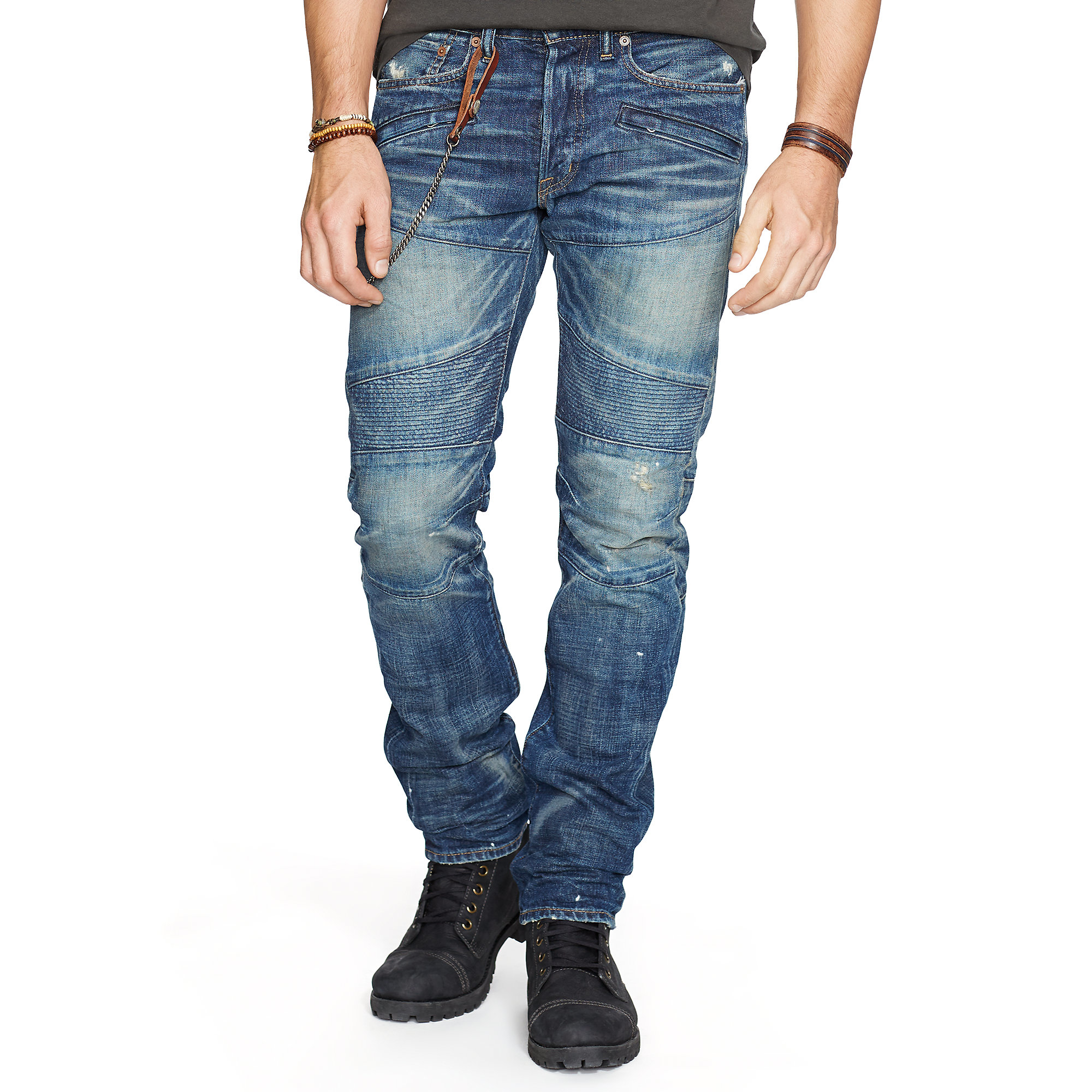 denim supply ralph lauren alamo slim fit moto jean in blue for men lyst. Black Bedroom Furniture Sets. Home Design Ideas