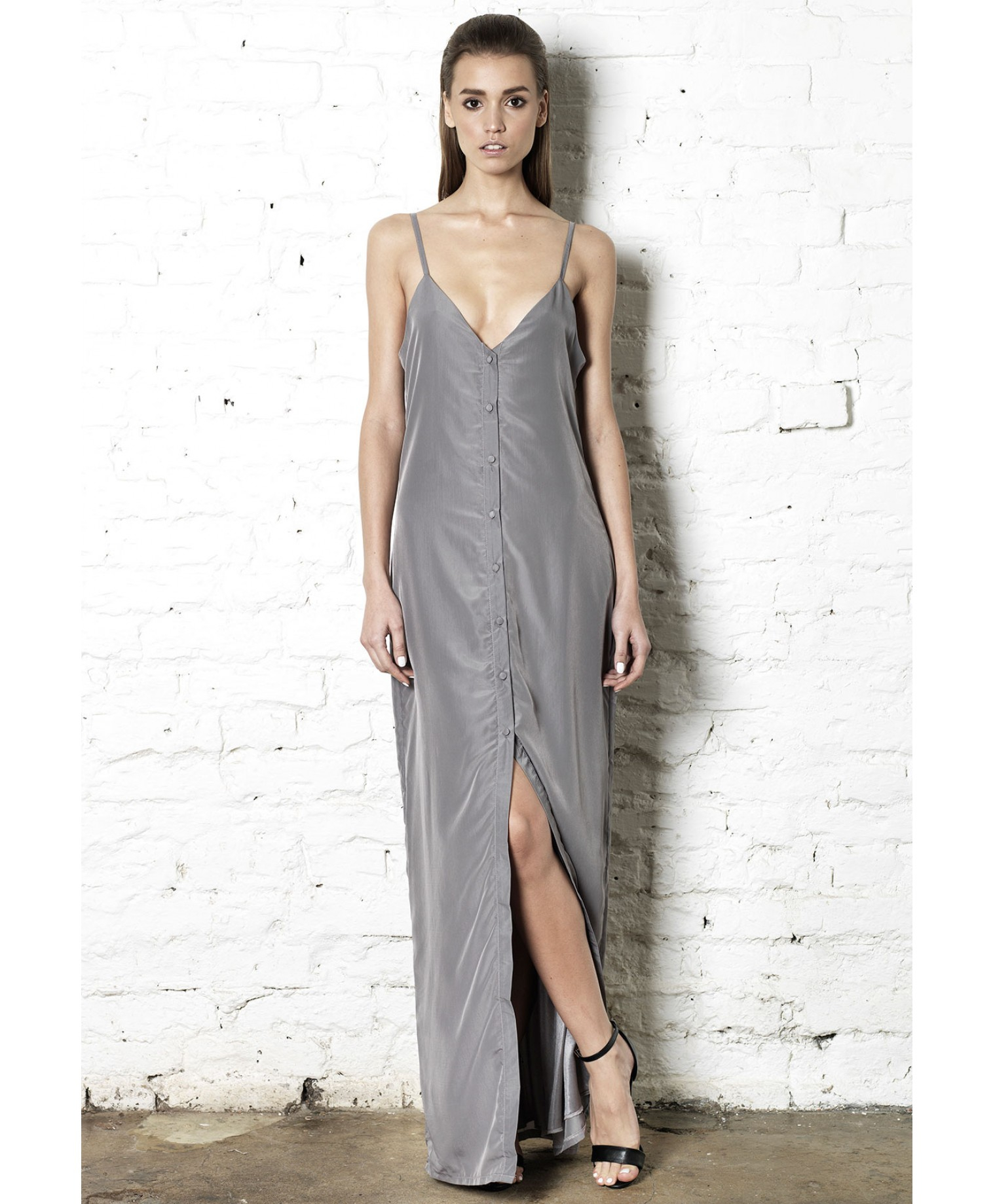 c5e94f75cb5 Lyst - Missguided Peace Love Lizzie Button Front Maxi Dress in Gray