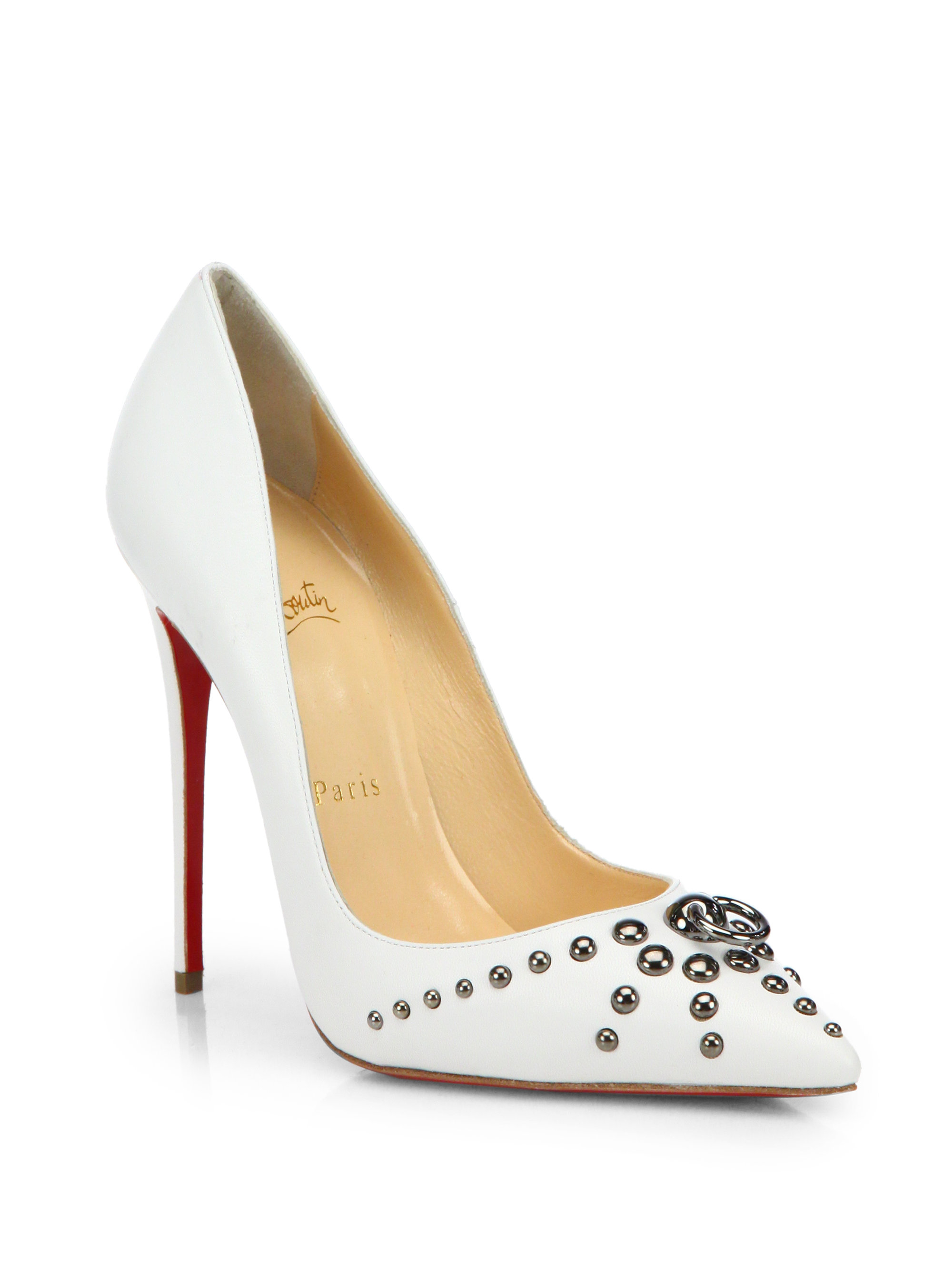 black spiked christian louboutin - Christian louboutin Door Knock Kid Leather Pumps in Black (BLACK ...