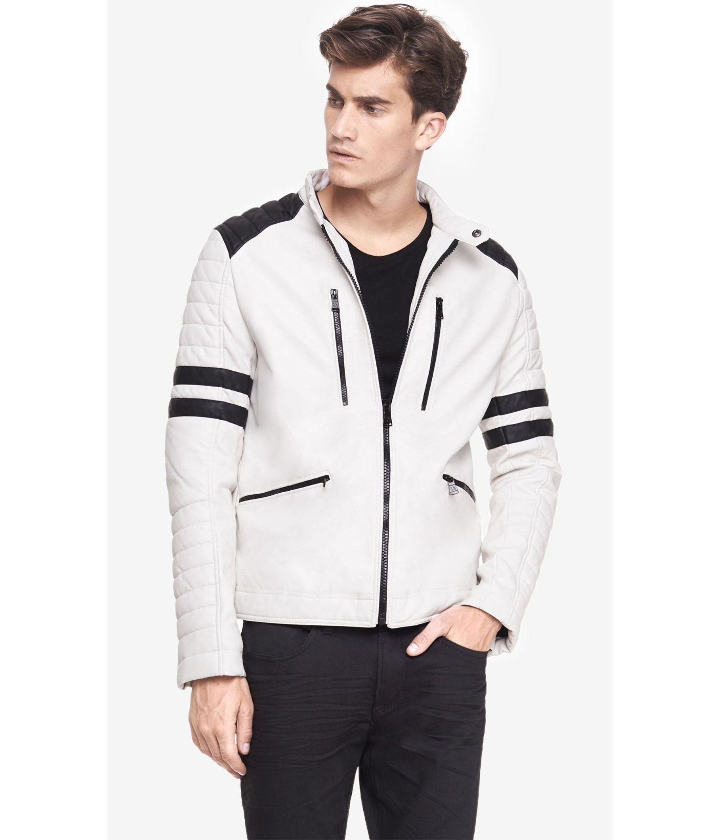 Lyst - Express Quilted (minus The) Leather System Biker Jacket in ... : express quilted leather jacket - Adamdwight.com