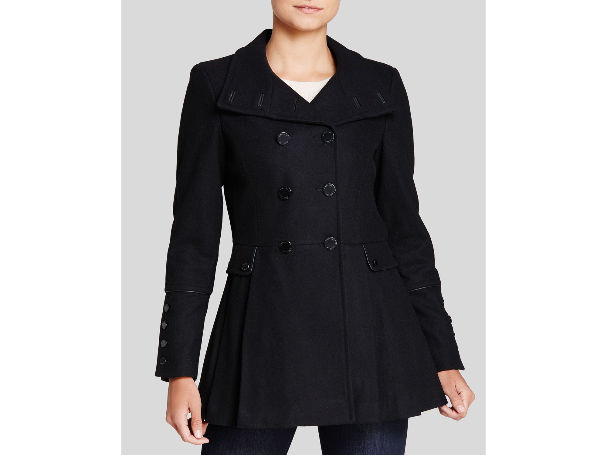 Calvin klein Military Style Pea Coat in Black | Lyst