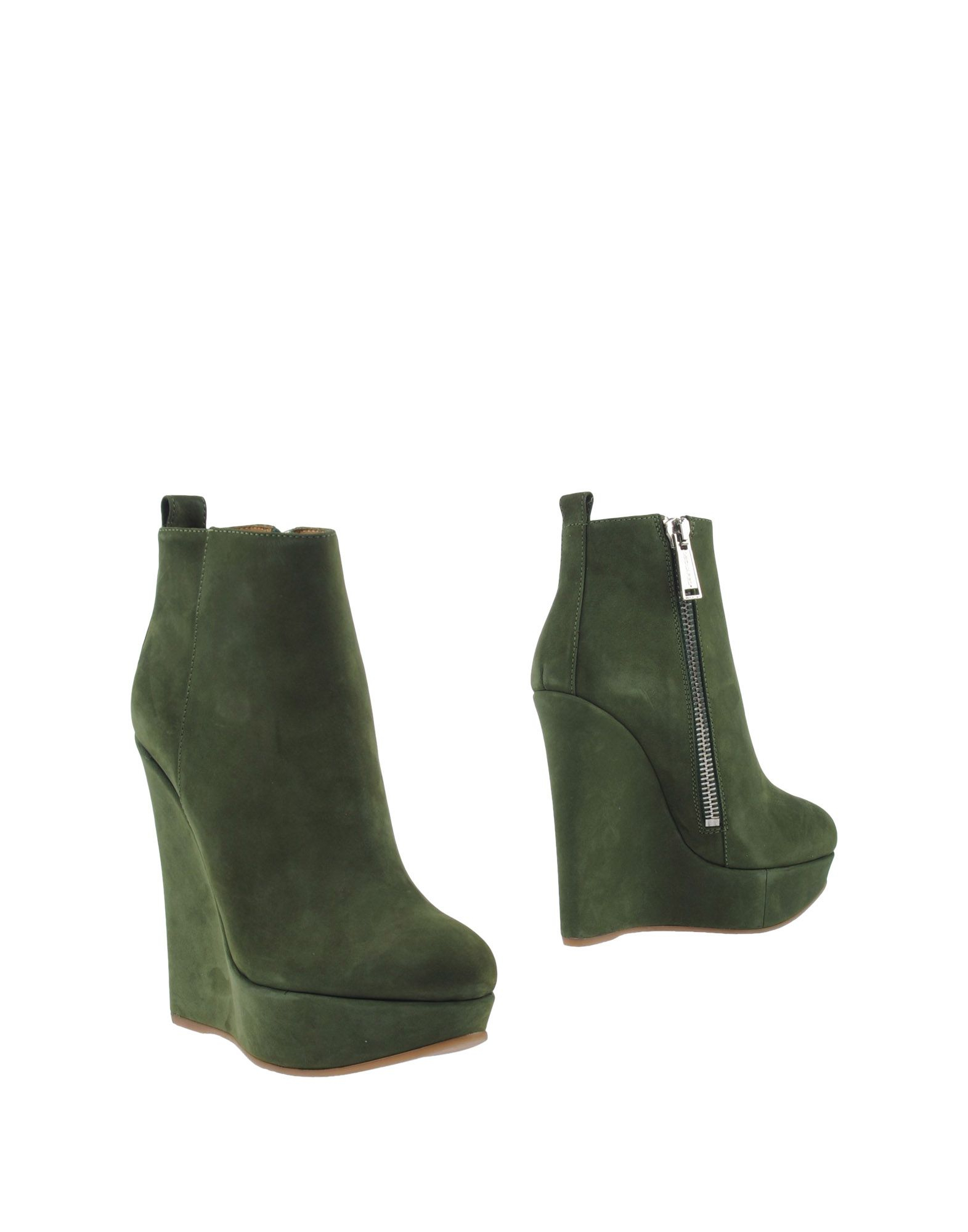 dsquared 178 side zip suede wedge boots in green lyst