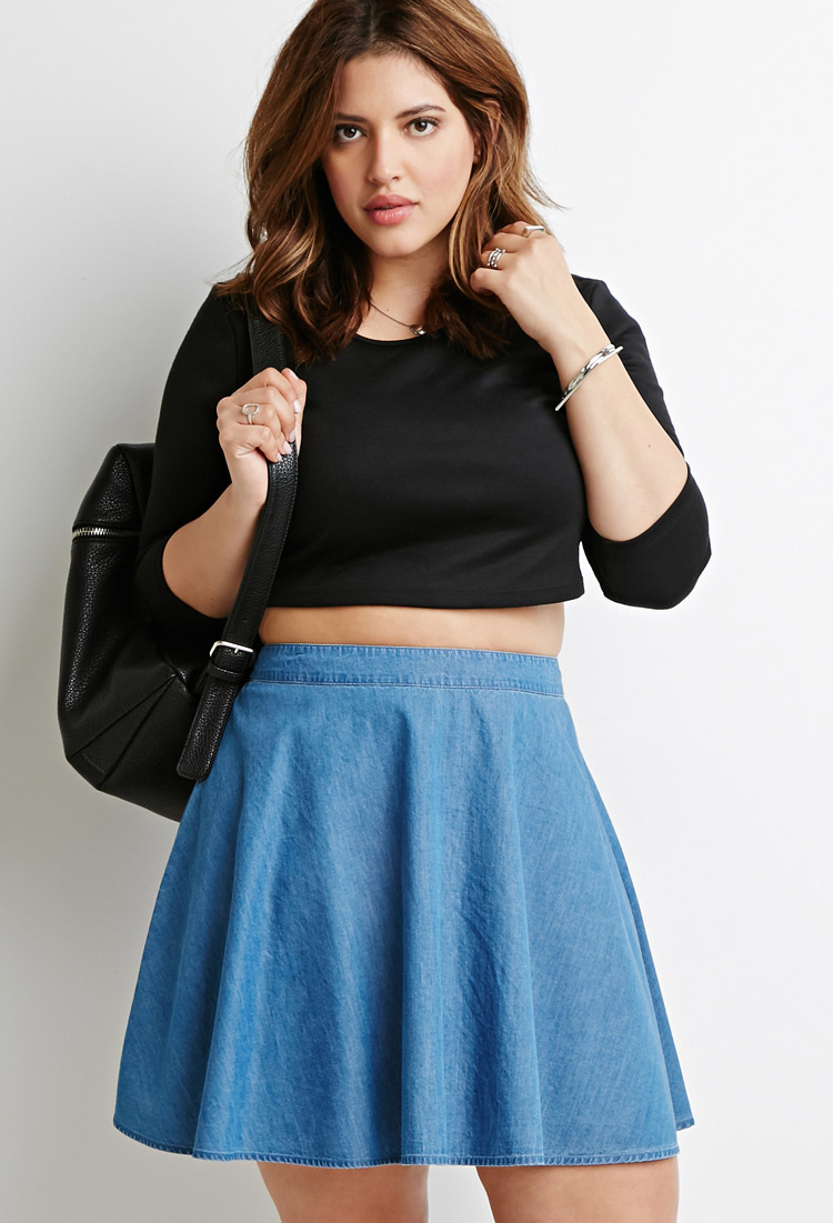 Denim Skater Skirt Outfit | www.imgkid.com - The Image Kid Has It!