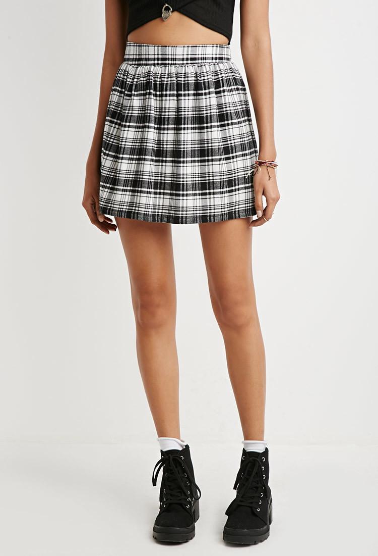 4f9612018 Forever 21 Tartan Plaid Flared Skirt in Black - Lyst