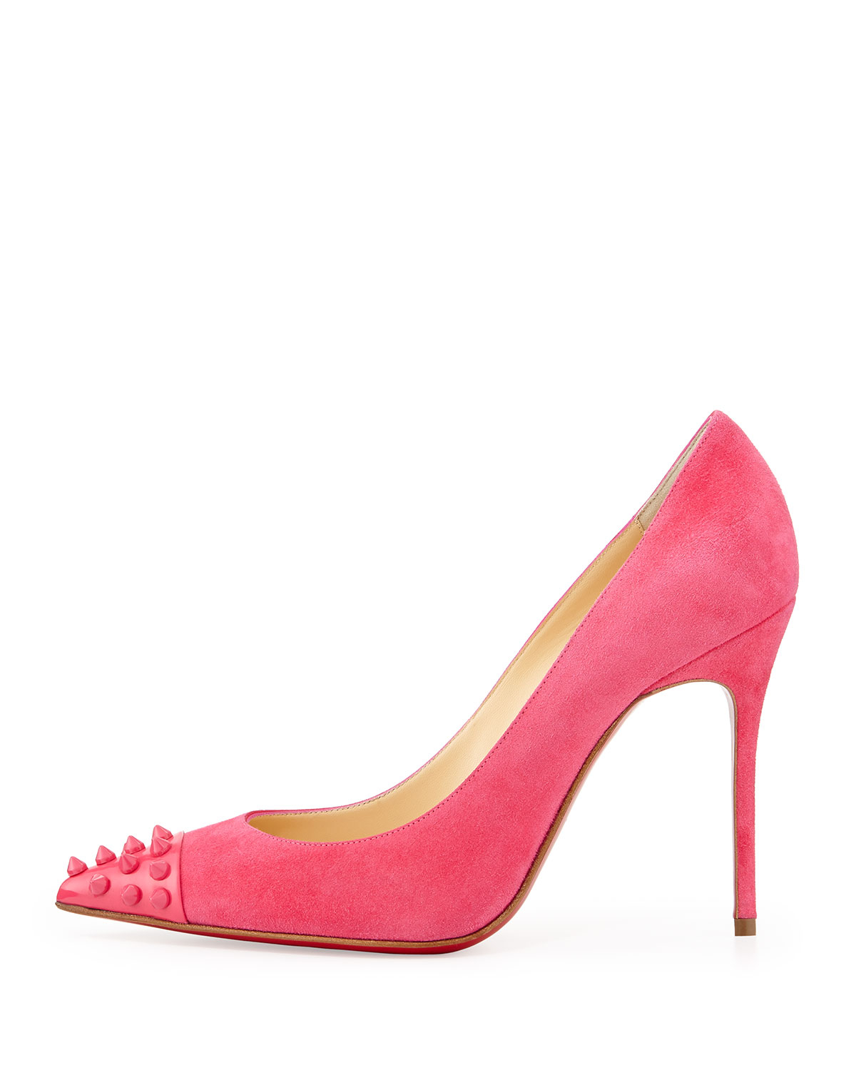 Christian louboutin Geo Spike Point-Toe Red Sole Pump in Pink | Lyst