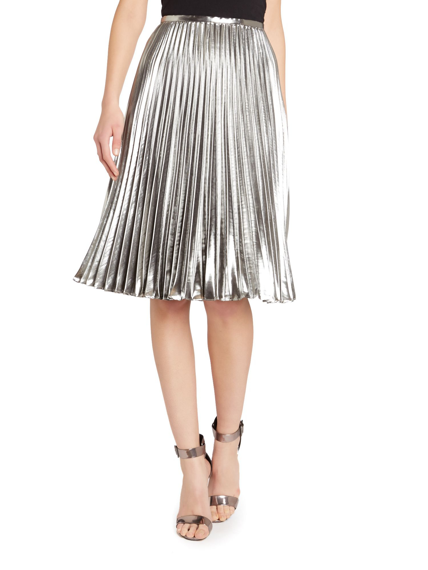 Silver Pleated Skirt - Skirts