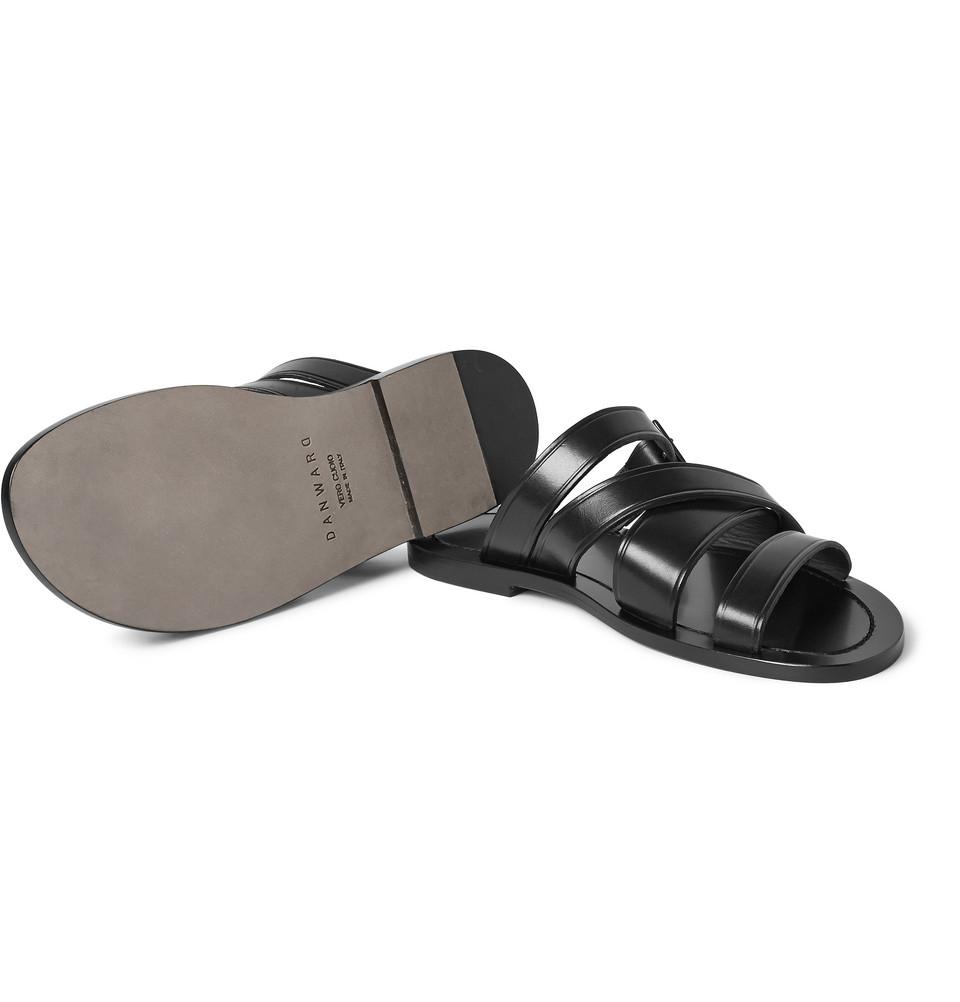 Danward Multi-Strap Leather Sandals in Black for Men