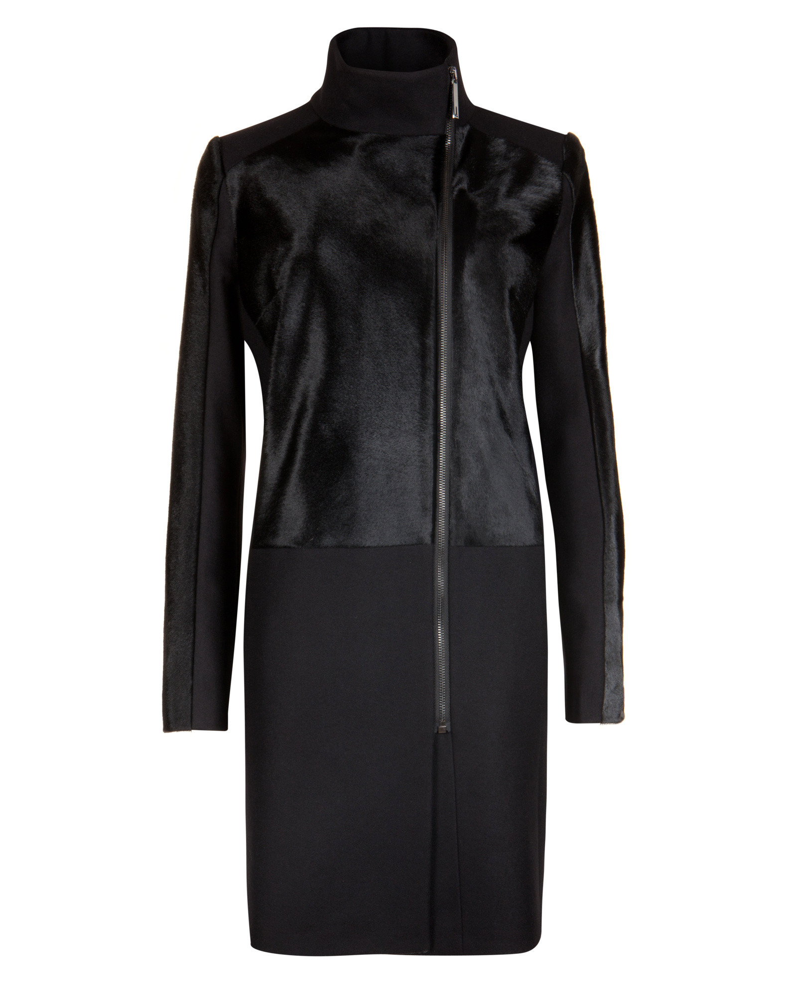 d71f8f09b Lyst - Ted Baker Pony Skin Effect Leather Coat in Black