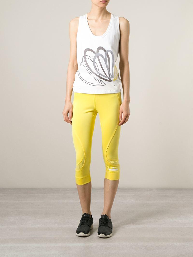 lyst adidas by stella mccartney 39 run 39 leggings in yellow. Black Bedroom Furniture Sets. Home Design Ideas