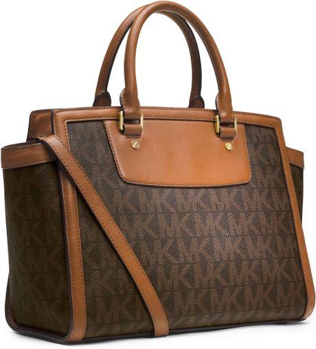 michael michael kors large selma topzip satchel in brown lyst. Black Bedroom Furniture Sets. Home Design Ideas