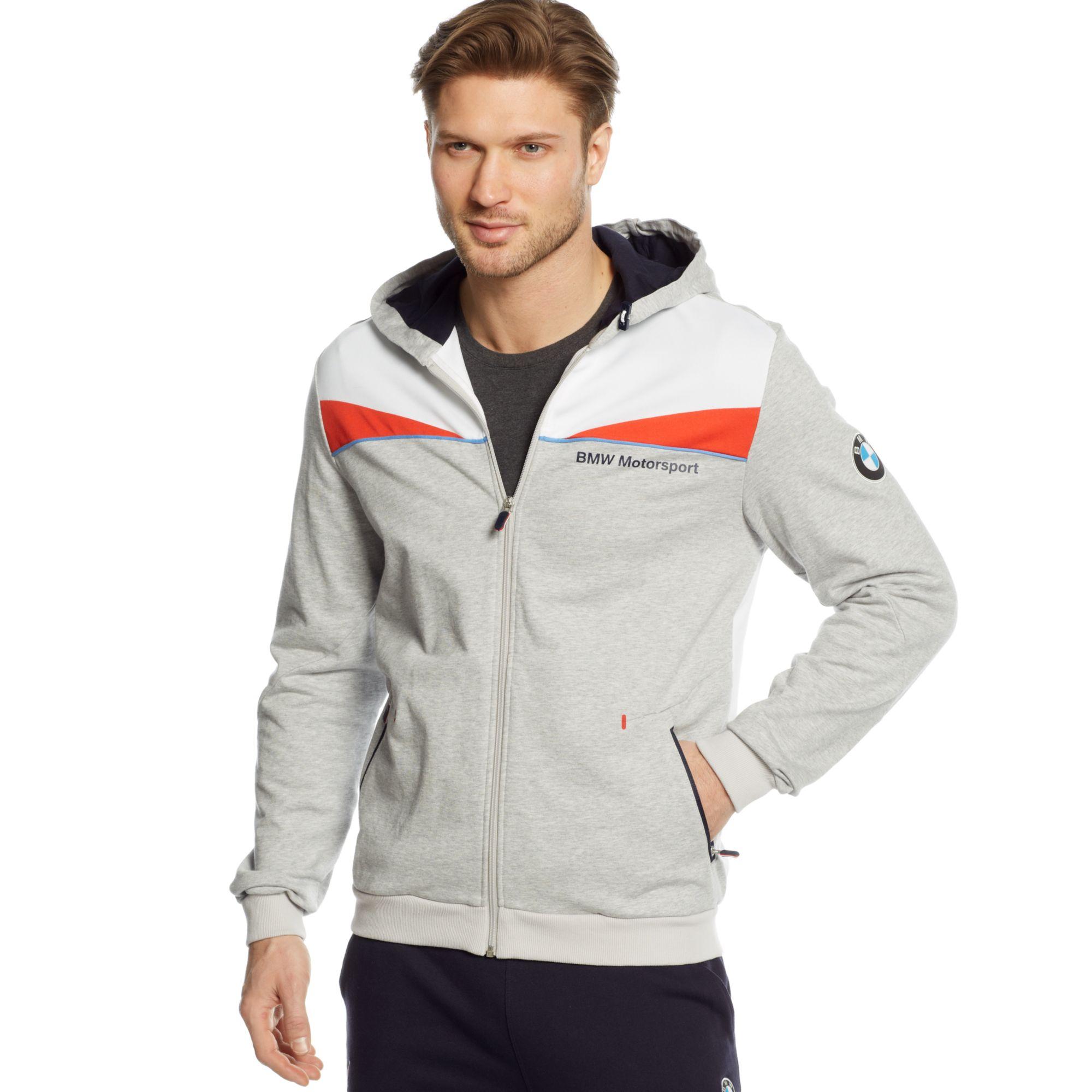 puma bmw hooded sweat jacket in gray for men light grey. Black Bedroom Furniture Sets. Home Design Ideas