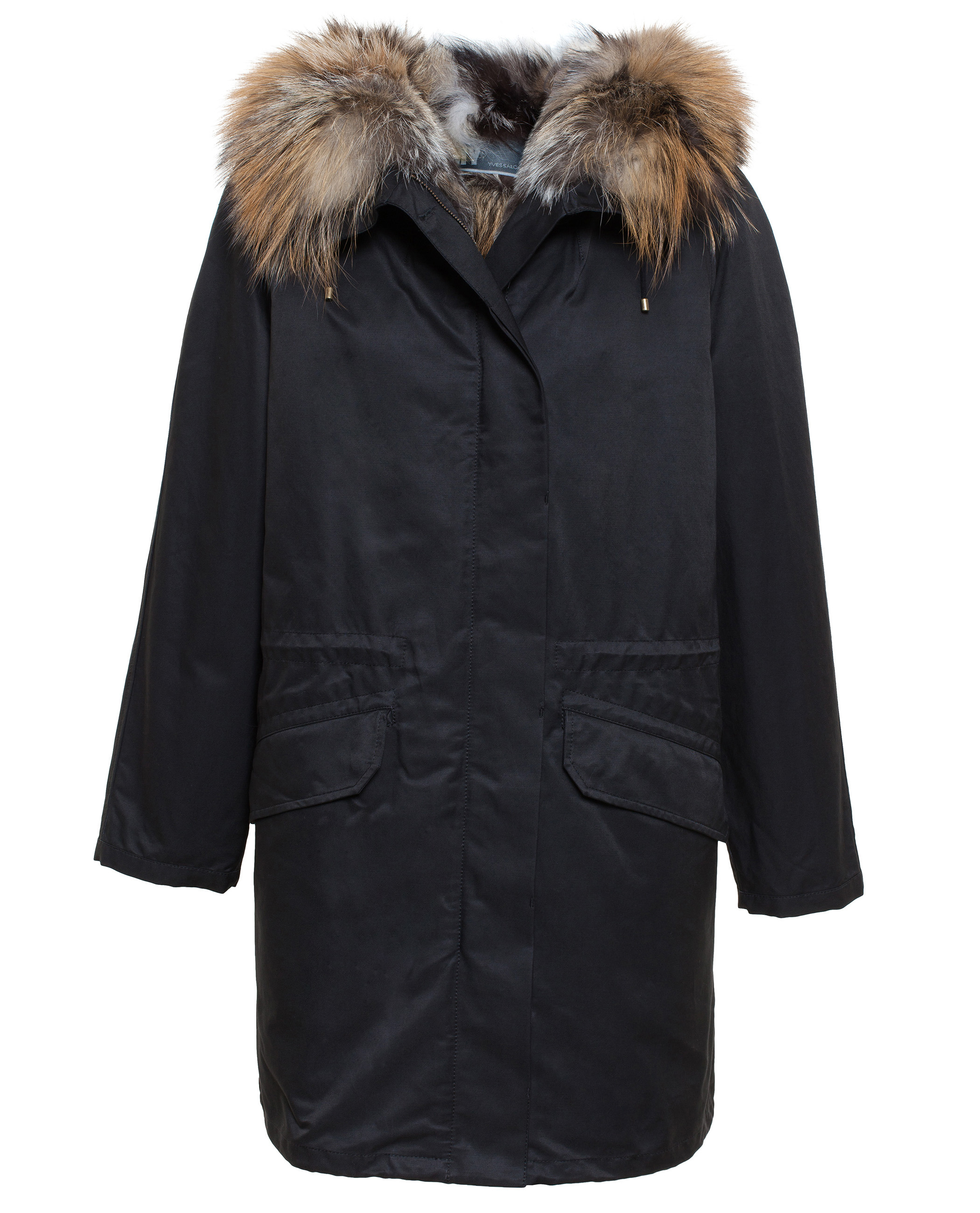 Yves salomon Fox Fur Lined Cotton Parka in Black | Lyst