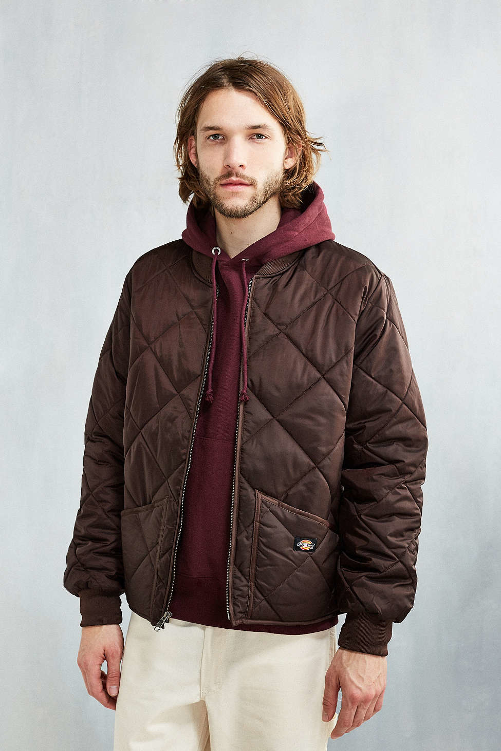 Dickies Diamond Quilted Jacket in Brown for Men | Lyst