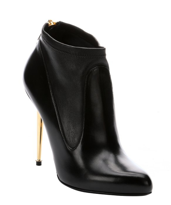 Tom ford Black Stretch Leather Metal Stiletto Ankle Boots in Black ...