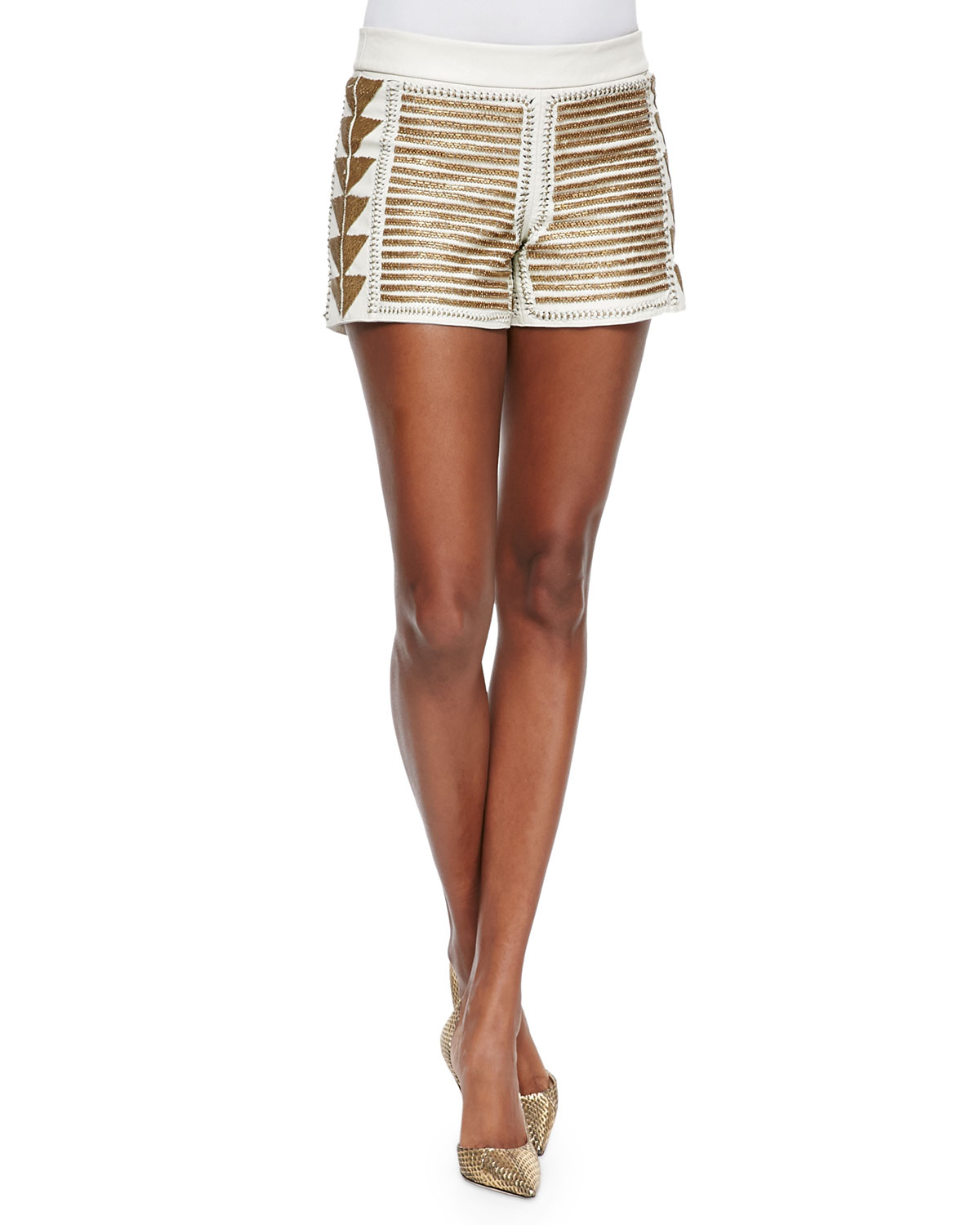 Alice   olivia Beaded Back-zip Leather Shorts in Metallic | Lyst