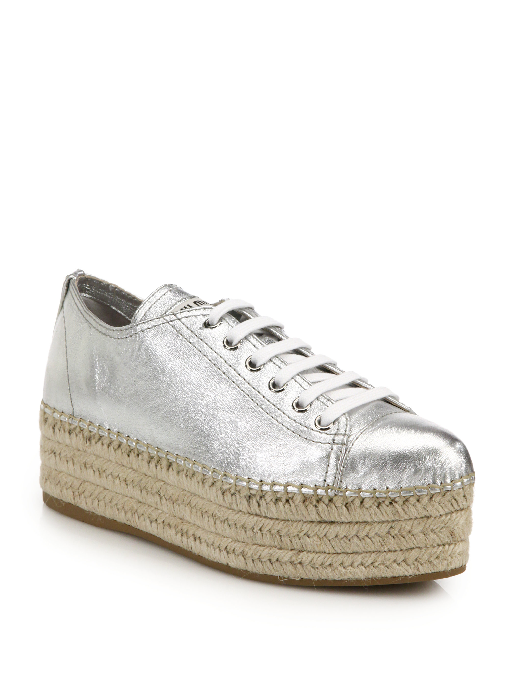 Lyst Miu Miu Metallic Leather Espadrille Platform