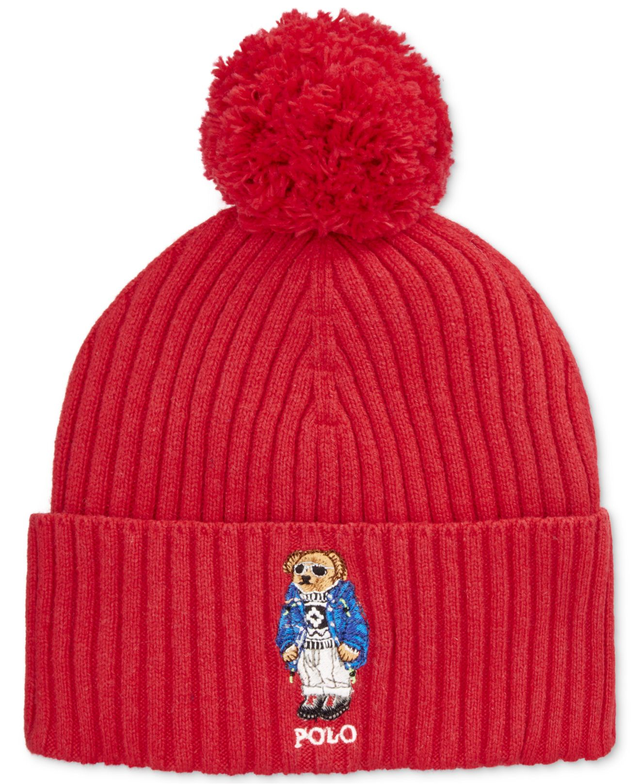 Lyst - Polo Ralph Lauren Ski Bear Pom-knit Cuffed Beanie in Red for Men 64464510a31
