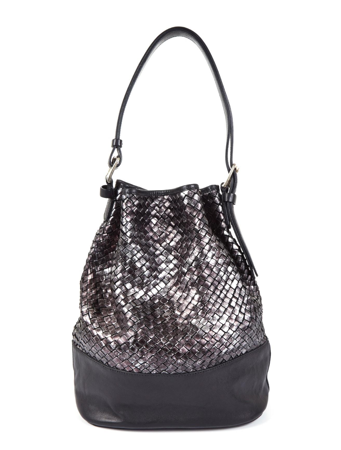 Massimo Palomba Metallic Woven Leather Dixie Bucket Bag In