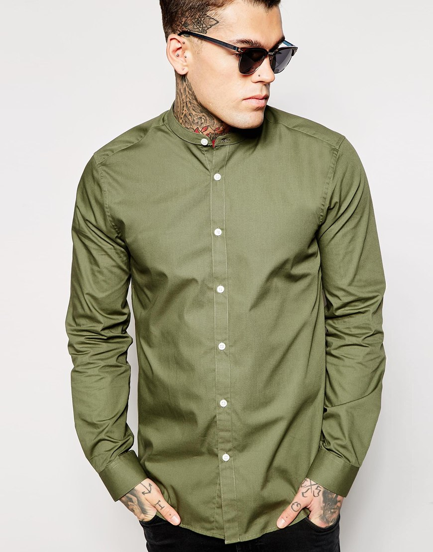 Lyst Asos Shirt In Long Sleeve With Grandad Collar In