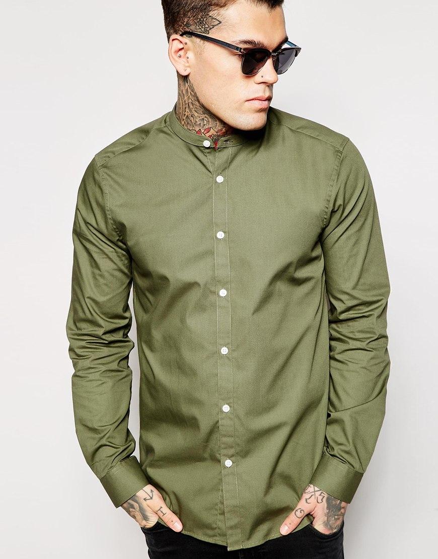 Lyst asos shirt in long sleeve with grandad collar in Mens grandad collar shirt