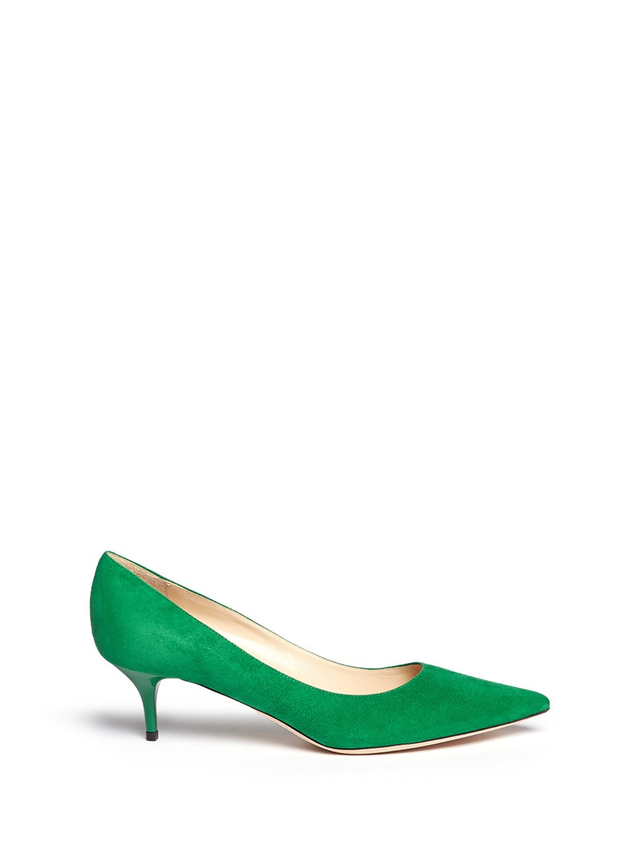 Jimmy choo 'aza' Suede Kitten Heel Pumps in Green | Lyst